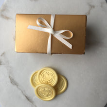Box of white chocolate wax seal wedding favours