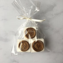 Dark chocolate and vanilla marshmallow wedding favours