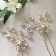 Crystal and Floral Wedding Hair pins for the bride