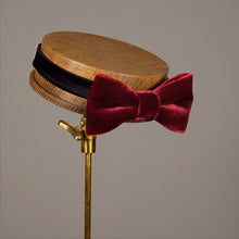 luxurious red velvet grooms bow tie
