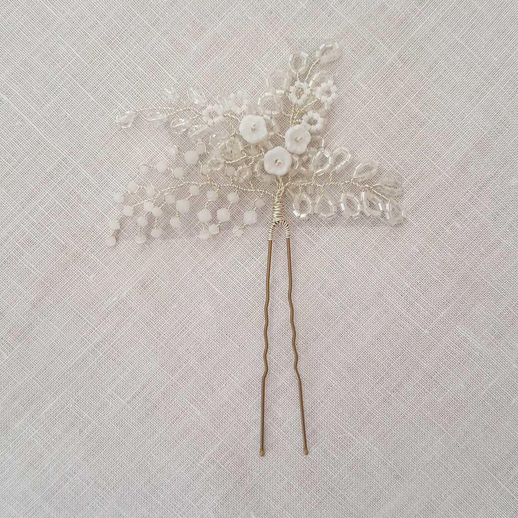 Bridal Hair Pin featuring delicate flowers and crystals