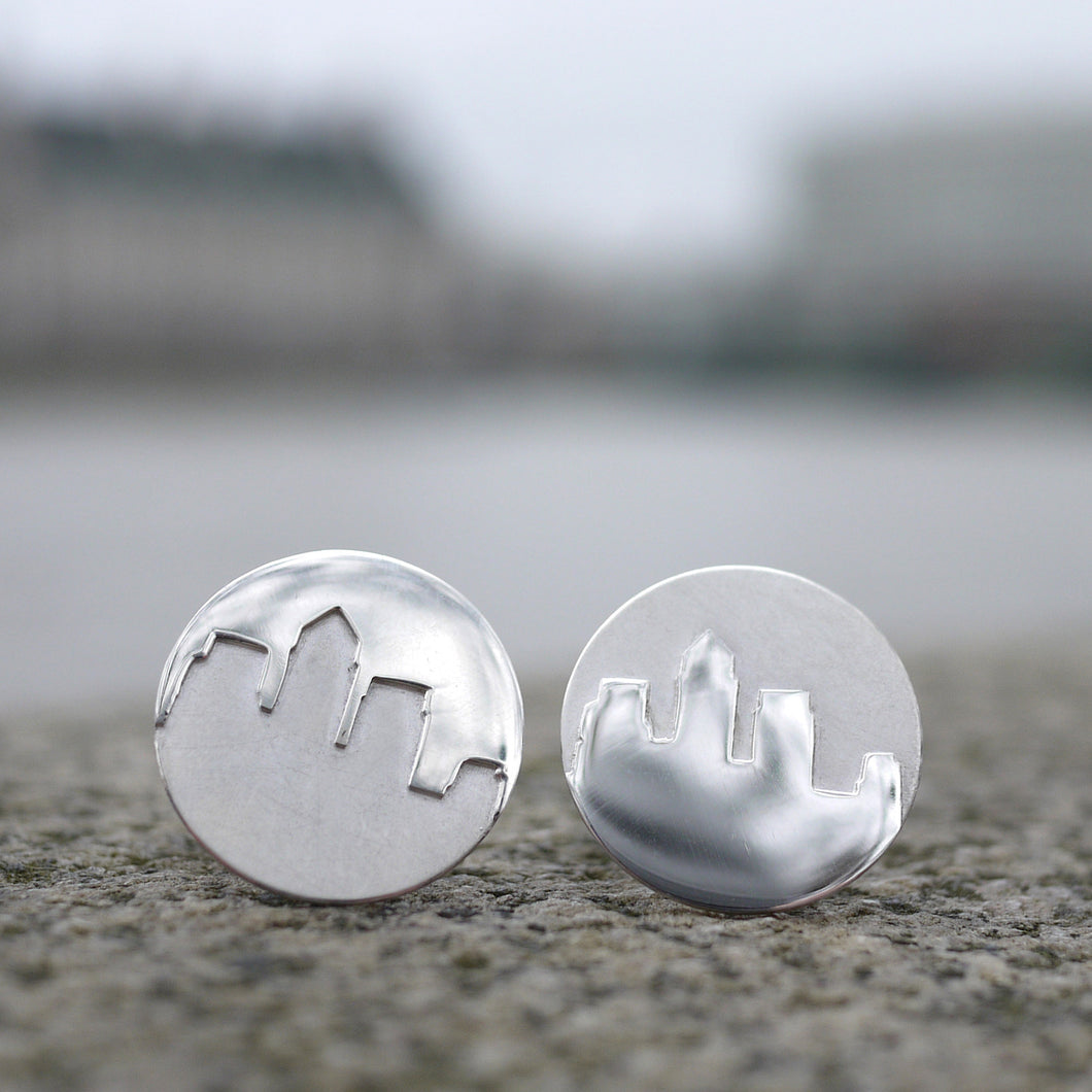 Sterling silver handmade Canary Wharf wedding cufflinks