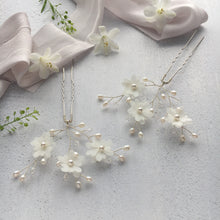White Flower hair pins for wedding day
