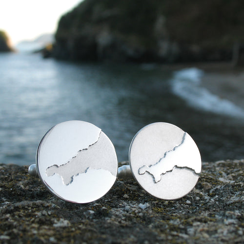 Sterling silver handmade Cornish coastline wedding Cufflinks