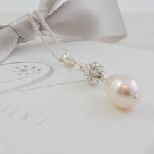 Swarovski Cream Pearl and diamante crystal bead drop necklace for your wedding day