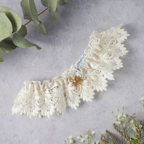 Ivory Lace wedding garter with something blue