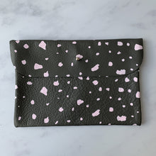 hand made grey leather clutch bag