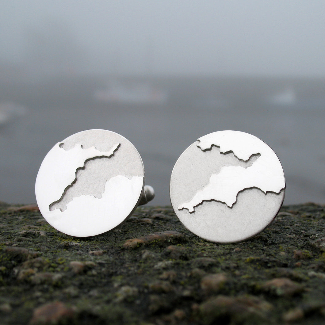 Sterling silver cufflinks handmade with the coastline of the South West England