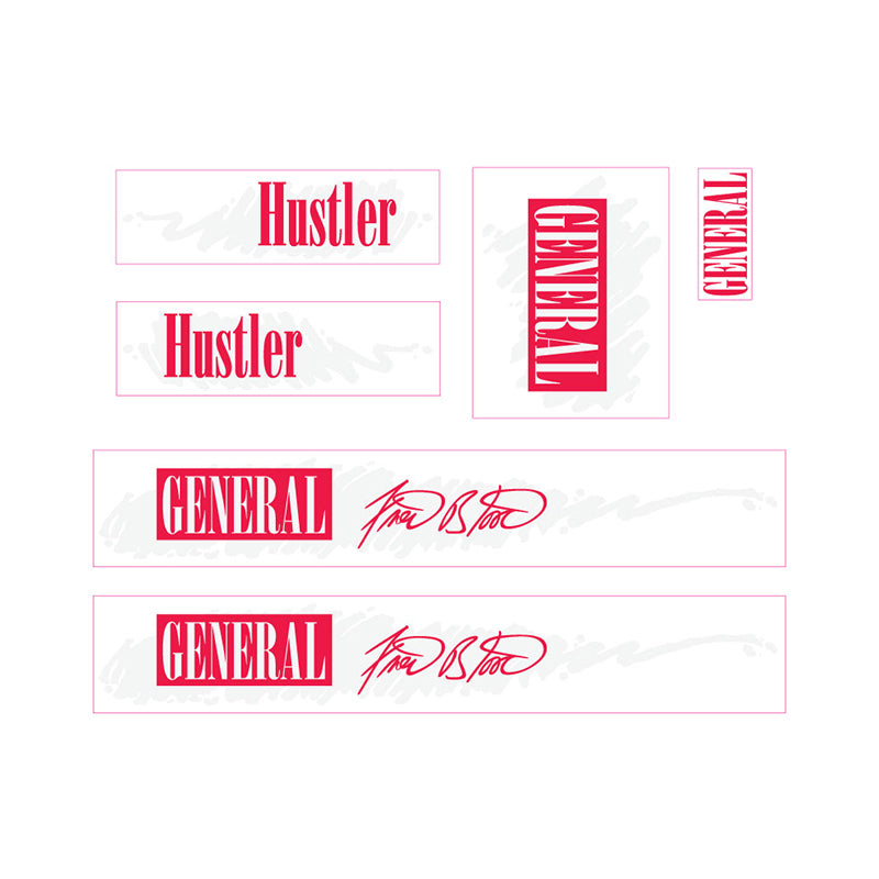 1986-1987-1988 General Hustler Fred Blood decals set BMX black frame 1