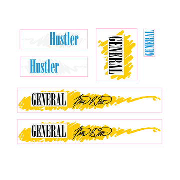 1986-1987-1988 General Hustler Fred Blood decals set BMX red frame 1
