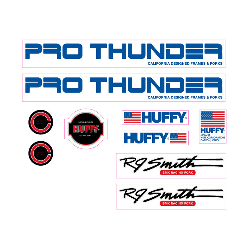 1982 Huffy Pro Thunder decal set for BMX Blue