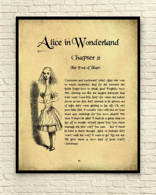 Lewis Carroll's Alice In Wonderland Vintage-Style Page Unframed Wall Art