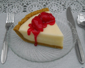 Slice Of  Strawberry Cheesecake Pie Scented Fake Food Candle