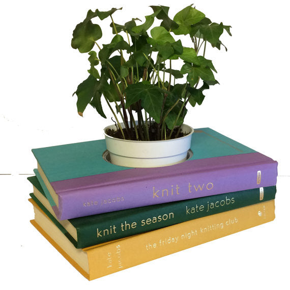 Knitting-Themed Book Planter in Purple & Yellow
