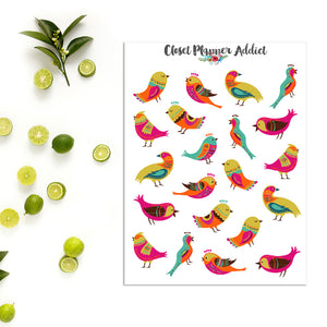Colourful Birds Planner Stickers (S-185)