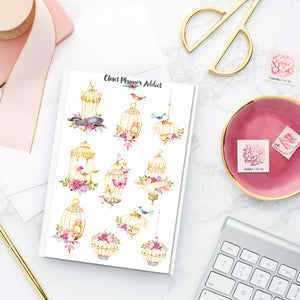 Watercolour Birdcages Planner Stickers (S-222)