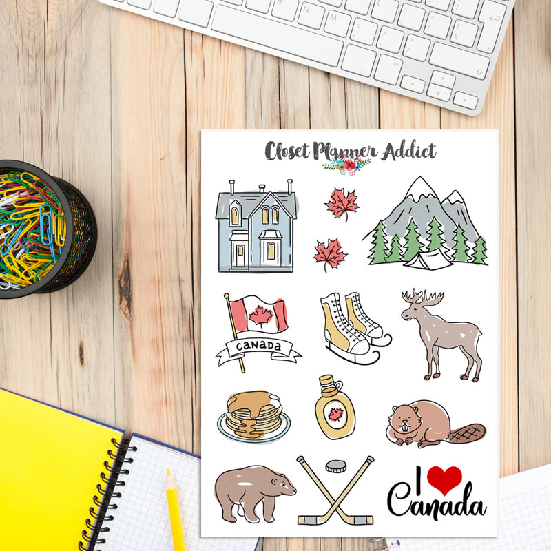 I Love Canada Travel Planner Stickers (S-340)