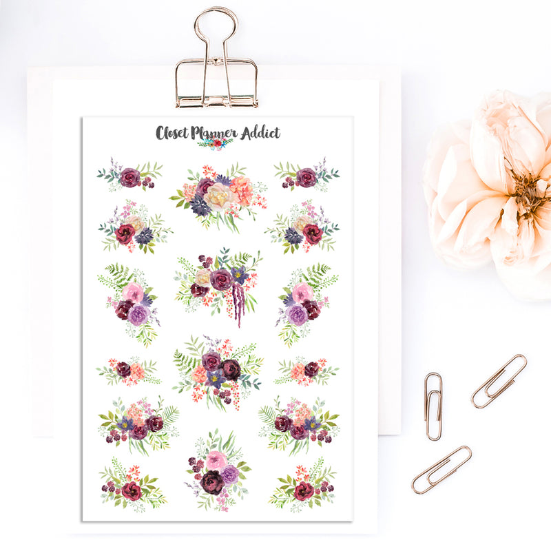 Watercolour Flowers Planner Stickers (S-342)