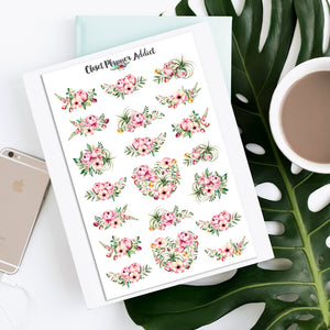 Watercolour Floral Planner Stickers (S-343)