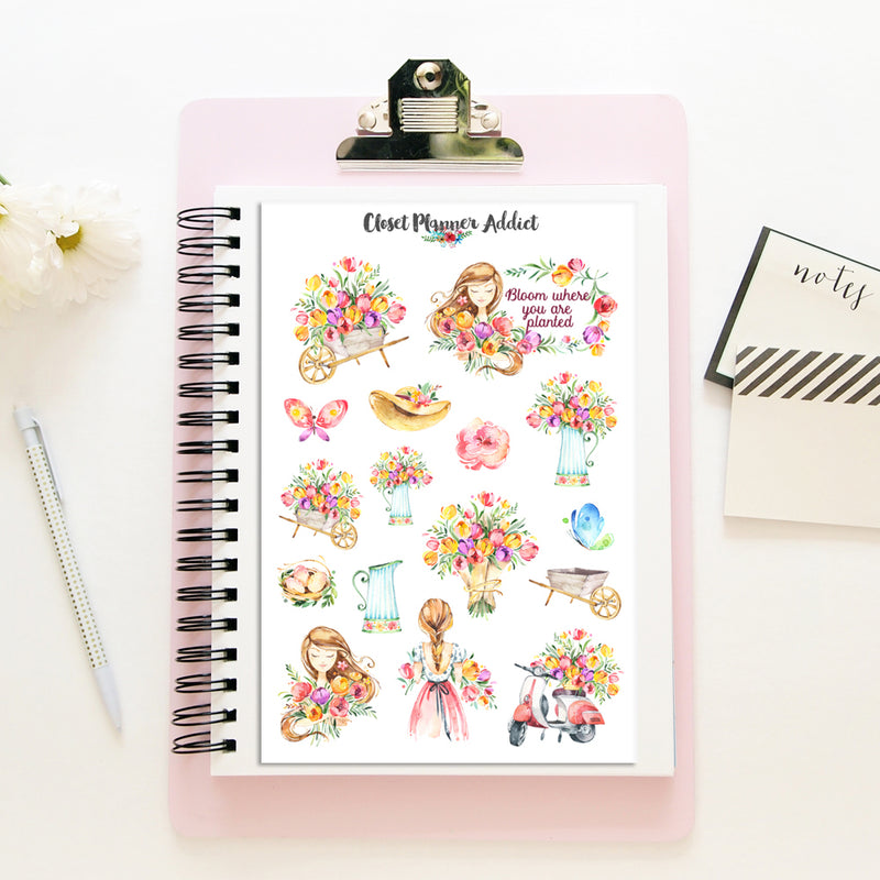 Bloom Where You Are Planted Planner Stickers (S-344)