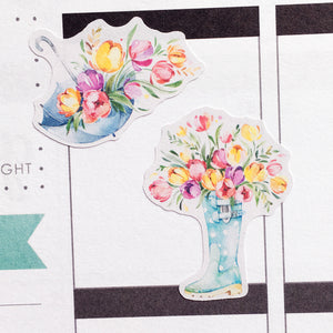 Watercolour Springtime Planner Stickers (S-345)