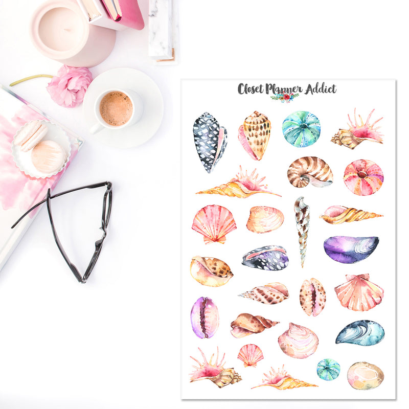 Watercolour Seashells Planner Stickers (S-346)