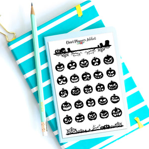Halloween Pumpkin Emoji Planner Stickers (S-349)