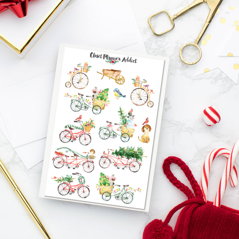 Watercolour Christmas Bicycles Stickers (S-368)