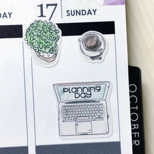 Laptop with Planning or Blogging Days Planner Stickers (S-370)