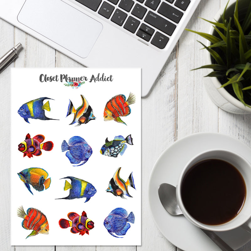 Watercolour Tropical Fishes Planner Stickers (S-371)
