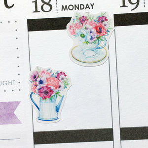 Watercolour Flowers in Watering Cans Planner Stickers (S-372)