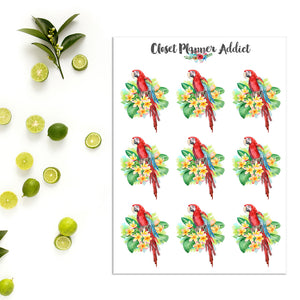 Red Macaw and Plumeria Planner Stickers (S-374)