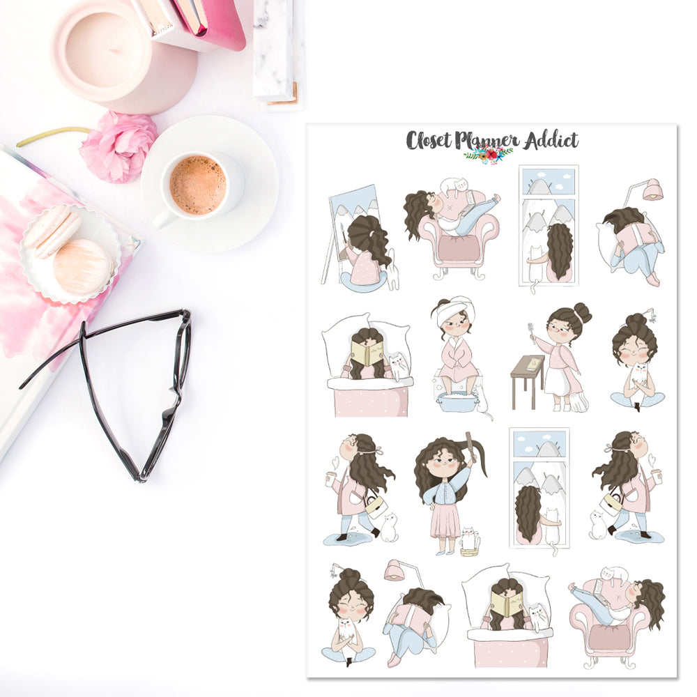 Girl With Cat Sampler 1 Planner Stickers (S-375)