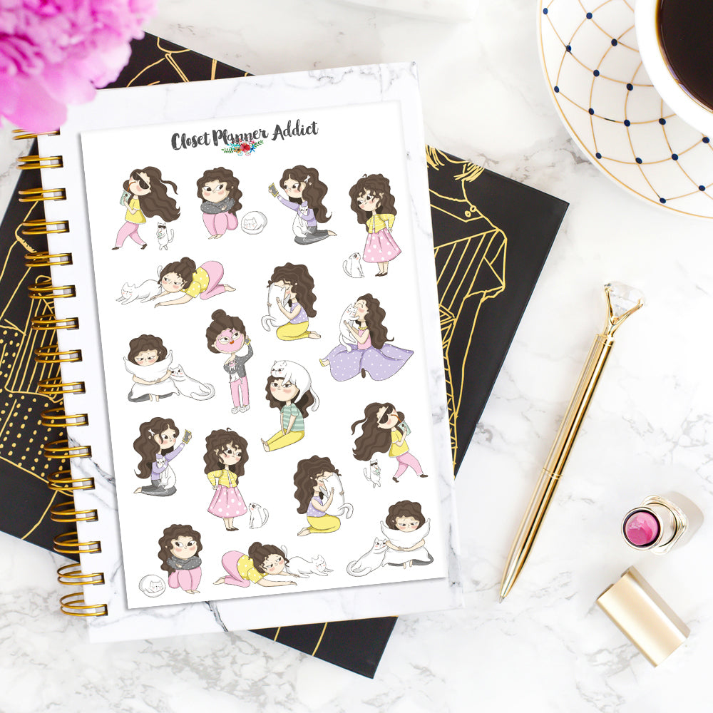 Girl With Cat Sampler 2 Planner Stickers (S-376)