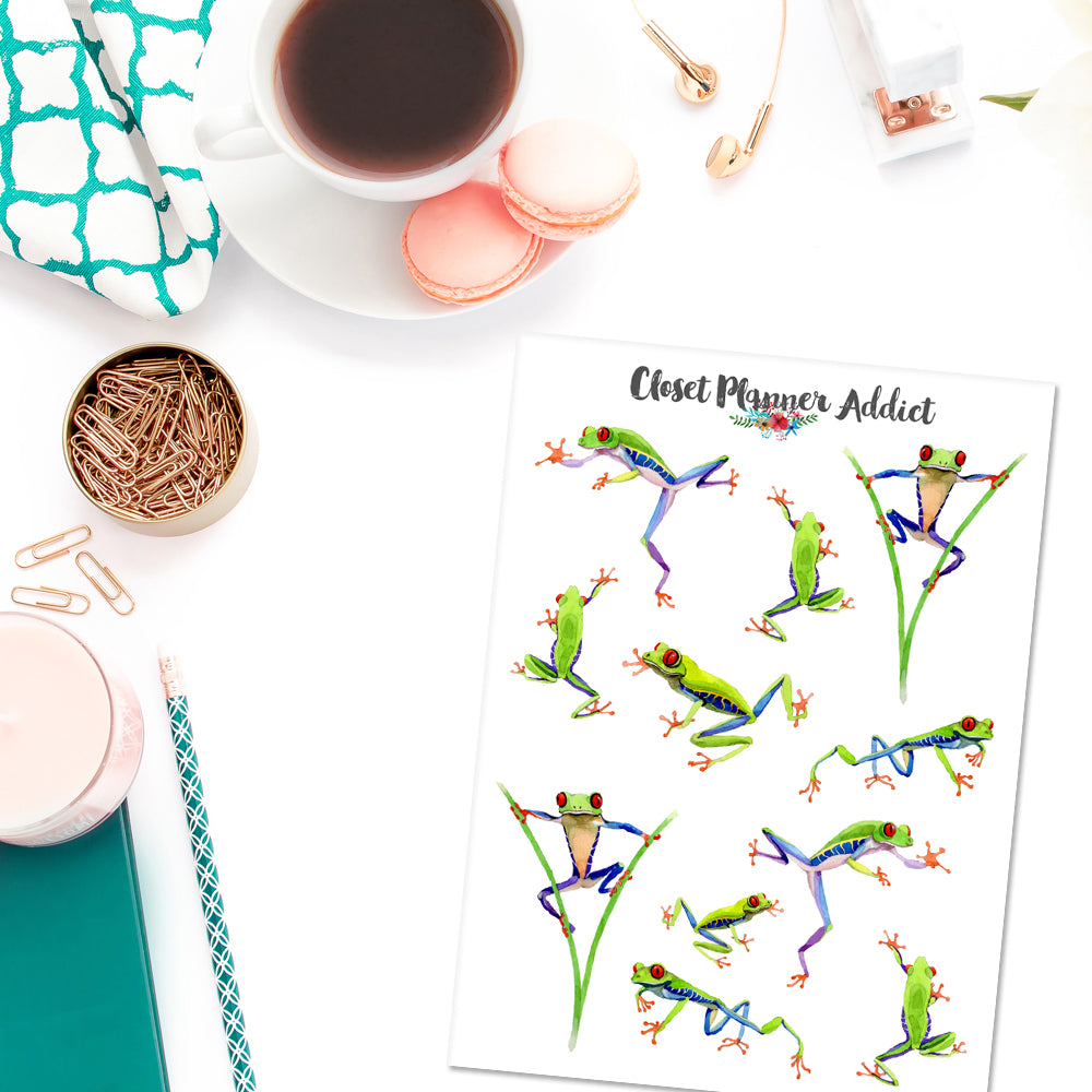 Exotic Red Eyed Frogs Planner Stickers (S-377)