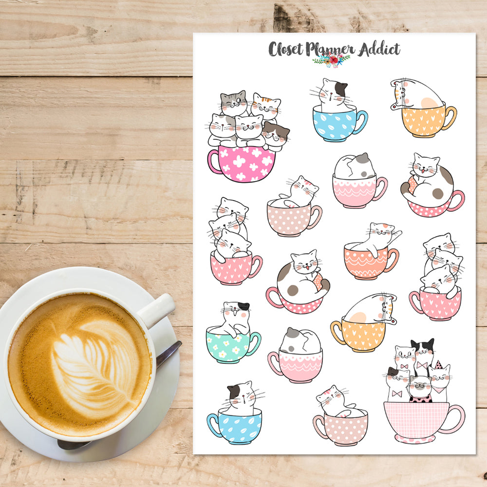 Cute Cat in Teacups Planner Stickers (S-379)