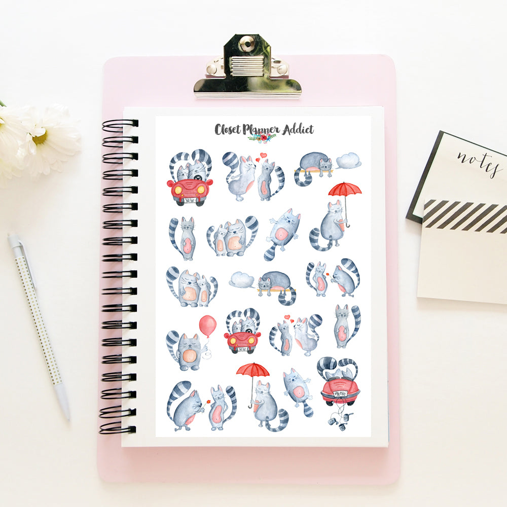 Valentine's Day Cats Planner Stickers (S-381)