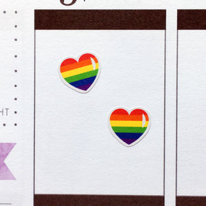 Love is Love Rainbow Hearts Planner Stickers (S-382)