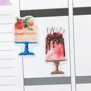 Watercolour Cakes Planner Stickers (S-383)