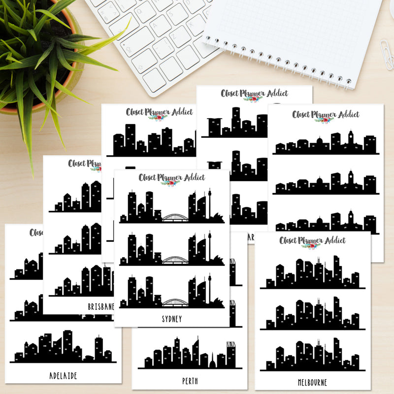 Australian City Skyline Planner Stickers (S-385)