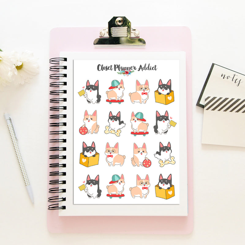 Cute Corgi Planner Stickers (S-386)