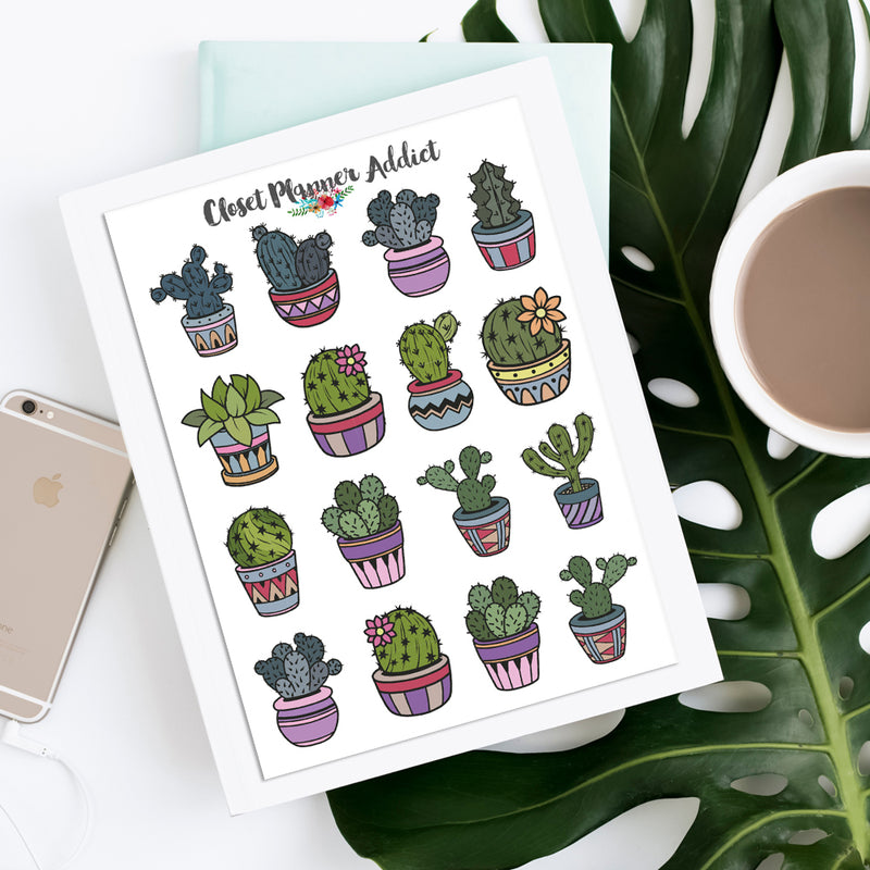 Cute Cactus Planner Stickers (S-389)