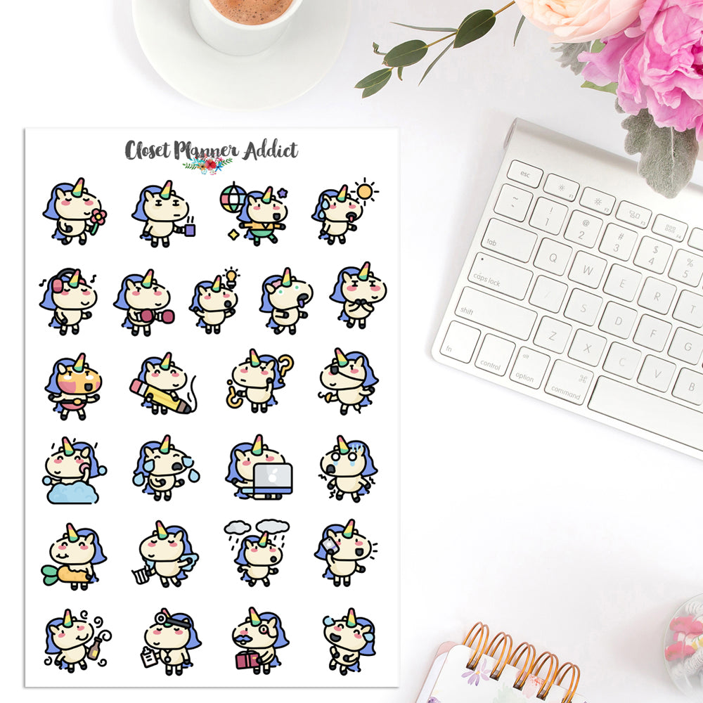 Cute Unicorns Planner Stickers (S-393)