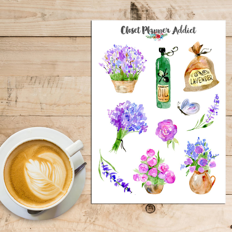 Watercolour Lavender in Provence Planner Stickers (S-394)
