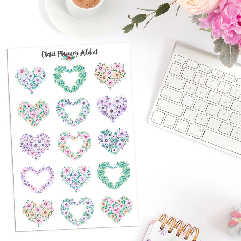 Floral Heart Wreaths Planner Stickers (S-399)