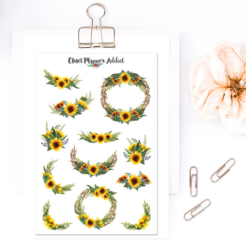Watercolour Sunflower Planner Stickers (S-402)