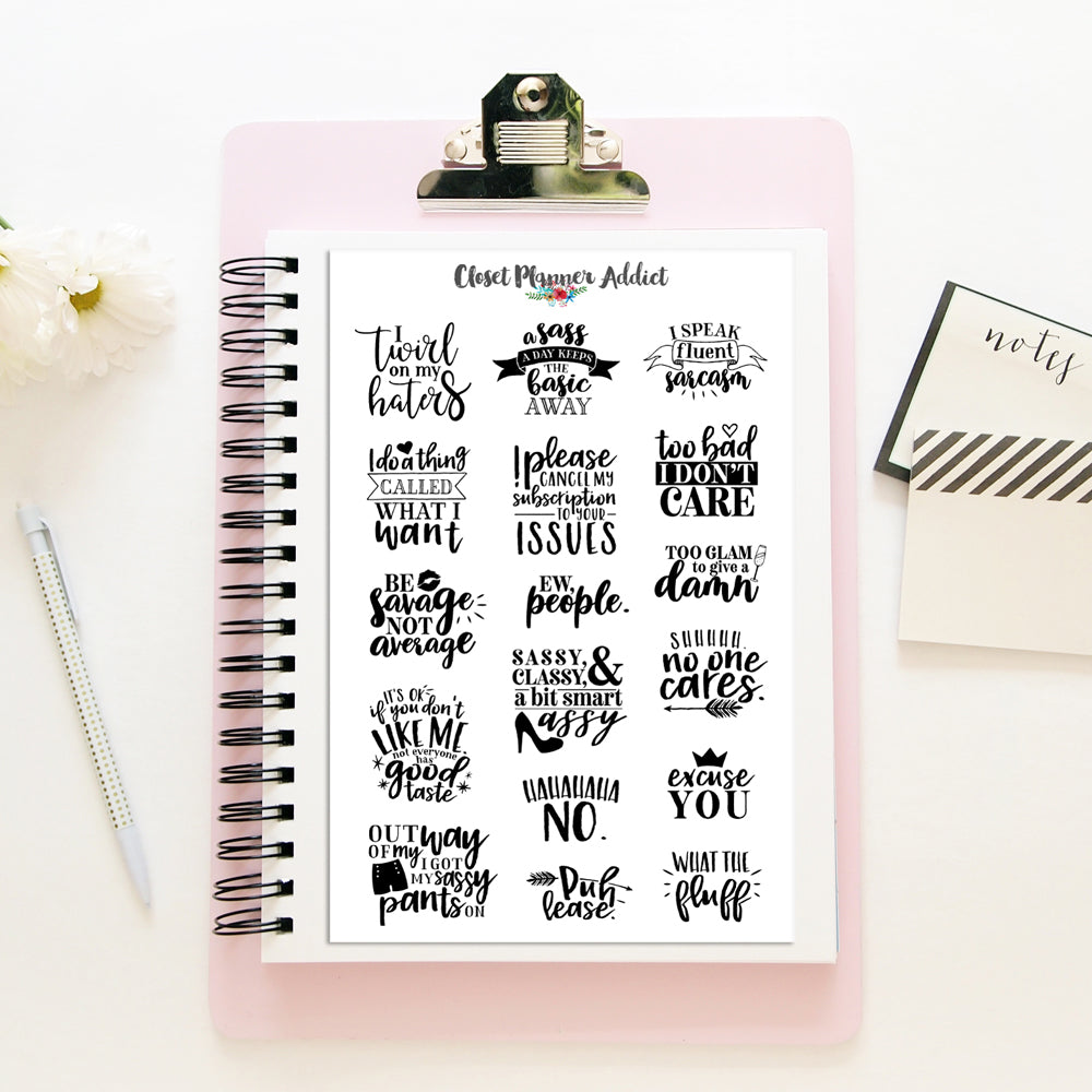 Sarcastic Quotes Planner Stickers (S-404)