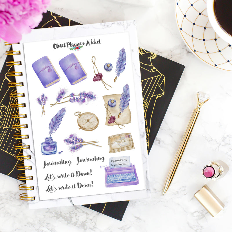 Lavender Travel Journaling Planner Stickers (S-405)