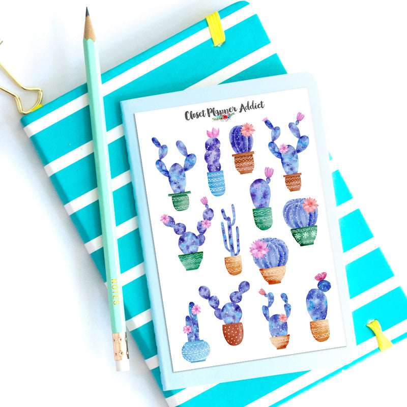 Galaxy Cactus Planner Stickers (S-406)