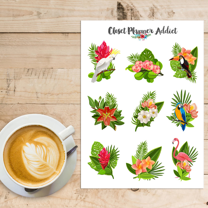 Tropical Birds and Plants Planner Stickers (S-412)